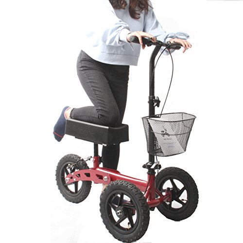 Health Port All-Road Knee Walker | Steerable Medical Scooter for Adults | Foldable & Lightweight | Smooth Pneumatic 12'' Wheels & Locking Parking Brakes | Adjustable Knee Pad & Handlebar | Red by Health Port