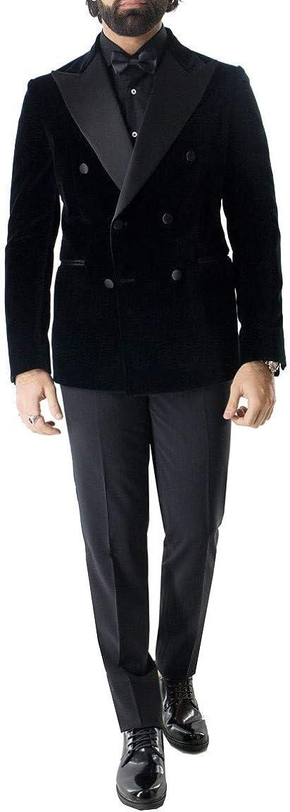 Carillo Moda - Chaqueta Smoking para Hombre de Invierno, Elegante, de Terciopelo, Liso, con Doble Pecho, Ajuste Slim Fit Rever Largo, con Bolsillos de Hilo