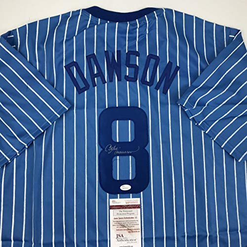 Autographed/Signed Andre Dawson Chicago Blue Pinstripe Baseball Jersey JSA COA ()