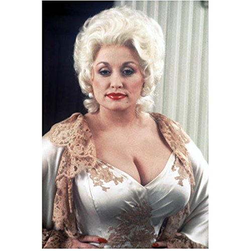 [Dolly Parton in Platinum Blonde Wig and Silky Off White Gown 8 x 10 inch photo] (Dolly Parton Wig)