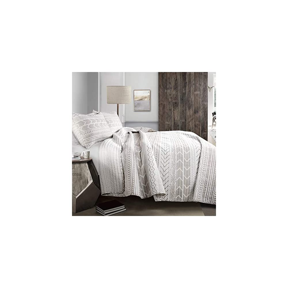 Lush Decor, Taupe & White Hygge Geo 3 Piece Quilt Set, Full/Queen