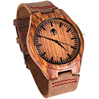 [Sponsored] Men's Wood Watch, Natural Bamboo and Sandalwood with Quartz Movement, Genuine Leather Strap … (Sandalwood)