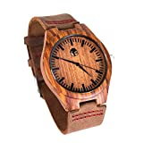 Men's Wood Watch, Natural Bamboo and Sandalwood with Quartz Movement, Genuine Leather Strap …