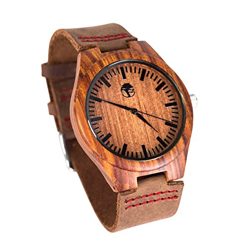 Men's Wood Watch, Natural Bamboo and Sandalwood with Quartz Movement, Genuine Leather Strap … (Sandalwood)