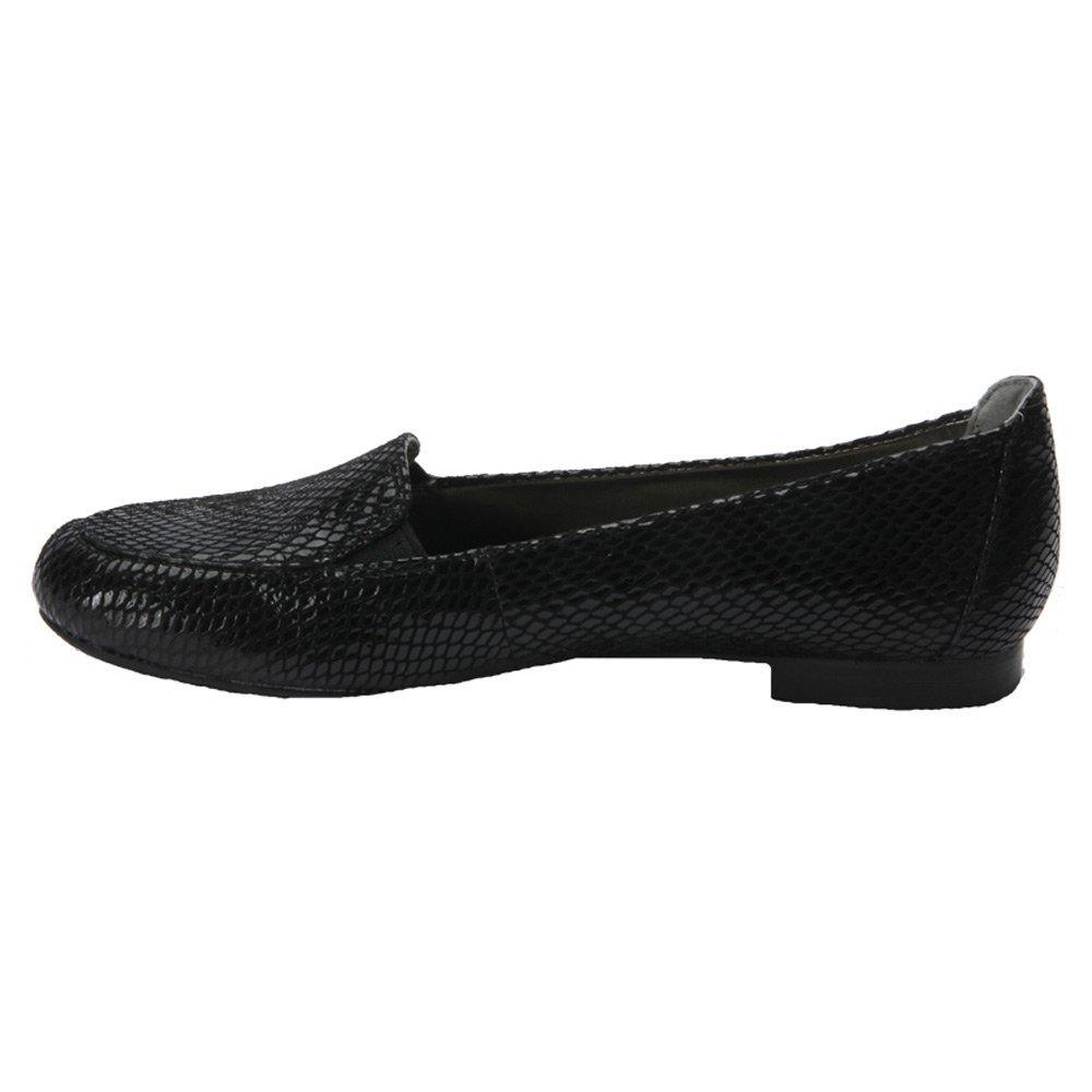 Ros Hommerson Regan Women W Round Toe Leather Loafer B00UW6J0YE 9.5 W|Black Snake Print