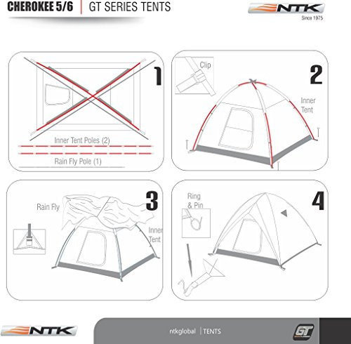 NTK Cherokee GT 5 to 6 Person 9.8 by 9.8 Foot Outdoor Dome Family Camping Tent 100% Waterproof 2500mm, Easy Assembly, Durable Fabric Full Coverage Rainfly - Micro Mosquito Mesh for Maximum Comfort. by NTK (Image #4)