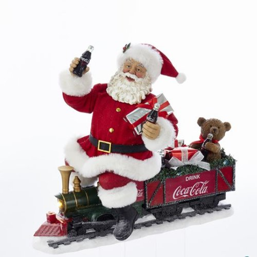 (Kurt Adler 13.25 Inch Coca-Cola Battery-Operated Santa Train with LED Garland, Red)