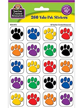 Amazoncom Teacher Created Resources Colorful Paw Print Stickers - Where to print stickers