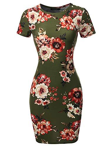 Casucal Printed Sexy Body-con Mini Dress - Made in USA Olive Mauve XL