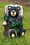 Alpine Bear Sitting in Tree Trunk Statue with Color Changing LEDs, 18 Inch Tall Review