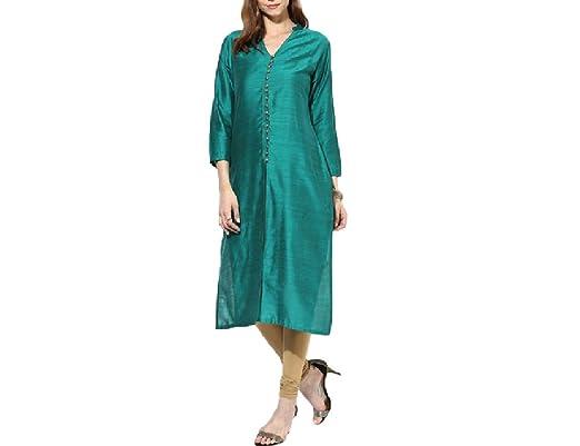 Faizan Brothers Chikan Handicraft Womens Cotton Straight Kurtala Fe04_xl_green_x Large