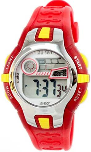 Boys Girls Outdoor Digital Quartz Waterproof Jelly Colorful Sports Watches For 7-15 Years Old Red