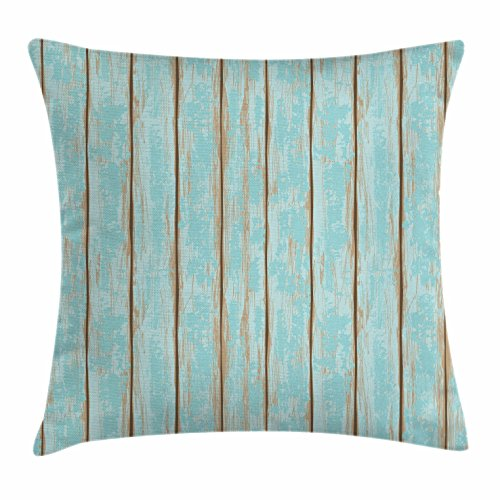 Lunarable Wood Print Throw Pillow Cushion Cover, Old Fashioned Weathered Rustic Planks Summer Cottage Beach Coastal Theme, Decorative Square Accent Pillow Case, 18