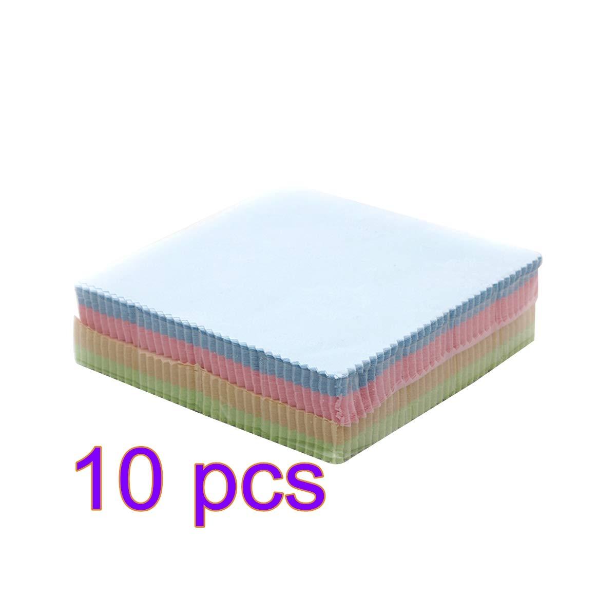 UKCOCO 10pcs morbidi panni in microfibra per occhiali da vista gioielli artigianali obiettivo della fotocamera telefoni schermo, 13x13cm colore casuale