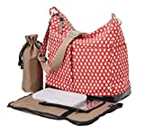 OiOi Hobo Diaper Bag - 2 Pocket Poppy Red Mini Geo