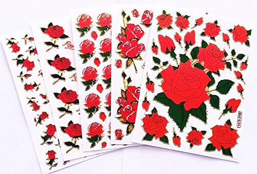 Fancy! Mix Red Rose Sparkle Sticker-5 Sheet (No.2)
