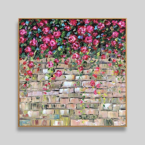 Hand-Painted Oil Paintings,Painting On Canvas Abstract Plant Rose Flower Wall Home Art Deco Painting Large Size For Bedroom Living Room Children'S Room Decoration Painting Frameless 80 X 80Cm