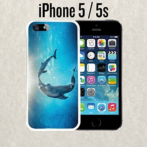 iPhone Case Cute Dolphin Painting for iPhone 5 / 5s Plastic White (Ships from CA) - Dolphins Of The Ca