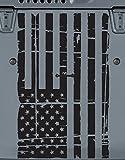 American Flag Distressed Hood Vinyl Decal (Matte Black)
