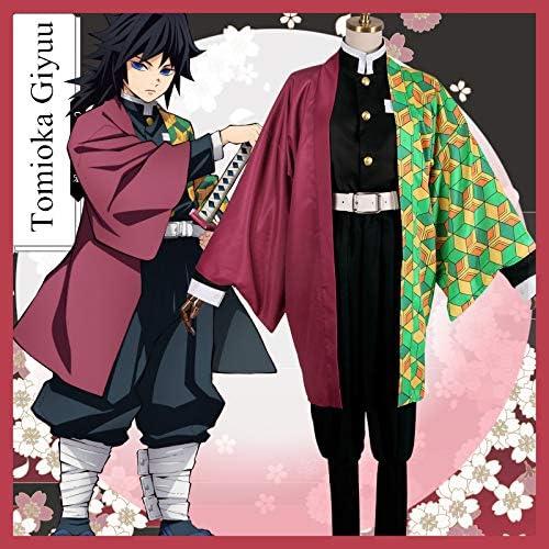 Demon Slayer Kimetsu No Yaiba Tomioka Giyuu Cosplay Costume Long Robes Kimono