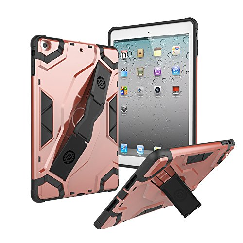 iPad Air A1474 Case, Roiskin iPad Air 2013 Model with Hand Strap Kickstand Latest Rugged Impact Resistant Flexible Soft TPU Full Body Protective Case Fits iPad Air A1474/A1475/A1476-Rose (Gold 2 Mm Slip)