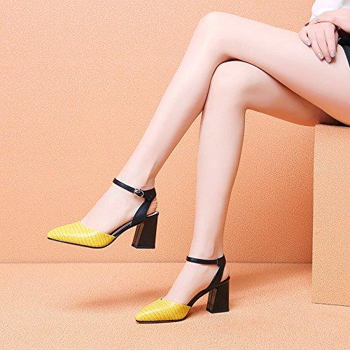 Vivioo Vrouwen-sandalen Hakken Sandalen Met Hoge Hakken Schoen Zomerschoenen Ruw Hiel-sandaal-gesp-sandaal-vrouw-hoge Hakken Sandalen Baotou-geel