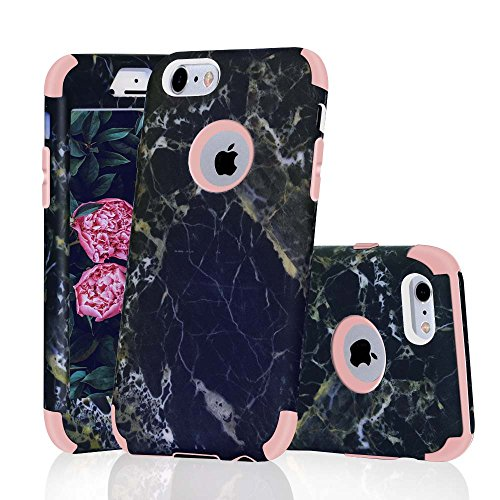 iPhone 6/6S Case, Asstar 3 In 1 Marble Creative Design Soft Silicone Hard PC Shockproof Anti-Scratch Protective Cover Case for Apple iPhone 6/6s 4.7 inch (Rose Gold Marble)