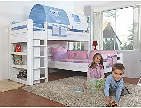 Bunk Bed Solid Beech Wood Painted White Ladder Shelf And 2 Rolling Racks With 2 X 90 X 200 Bed Convertible To Two Single Beds Amazon De Kuche Haushalt
