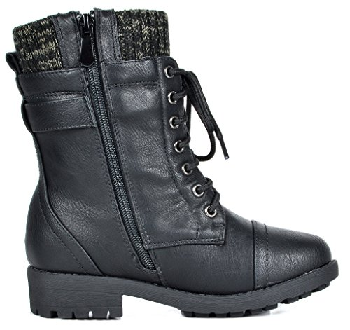 DREAM PAIRS Little Kid Amazon-K Black Girl's Mid Calf Combat Boots Size 1 M US Little Kid by DREAM PAIRS (Image #2)