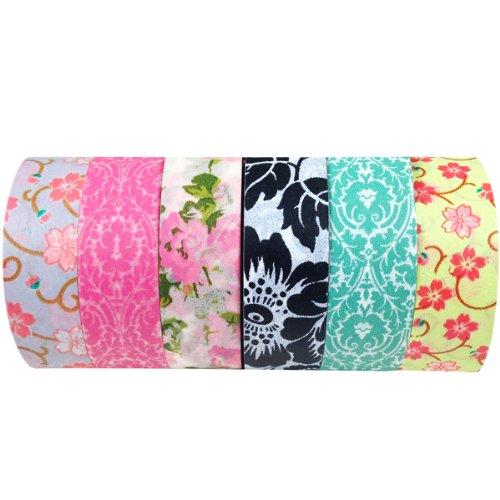 Wrapables Set of 6 Japanese Washi Masking Tape Collection Premium Value Pack, VPK2 ()