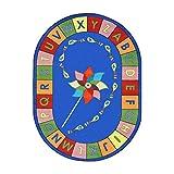 Joy Carpets Kid Essentials Early Childhood Oval Alphabet Pinwheel Rug, Multicolored, 5'4'' x 7'8''