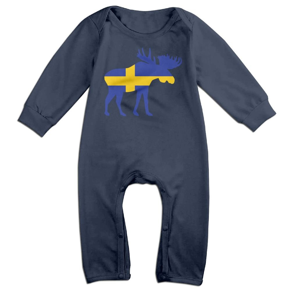 Mri-le1 Newborn Baby Bodysuits Swedish Flag and Moose Baby Rompers