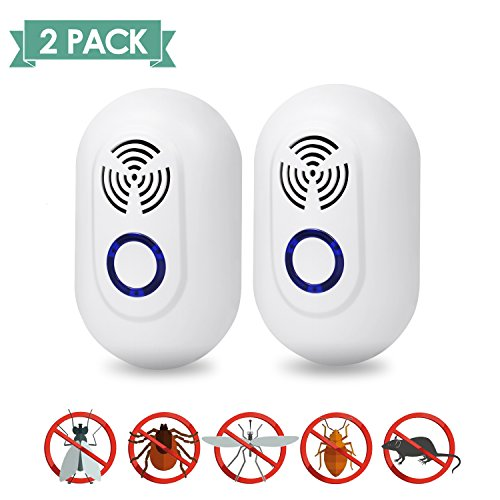 Ultrasonic Pest Repellent, Pest Control Ultrasonic Repeller Set of 2, Indoor Plug in Repellent for Mosquitoes, Mice, Rat, Bug, Roach, Spider, Rodent and More Insects, Safe for Human and ()
