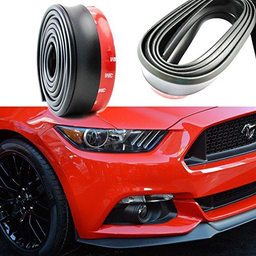 Black Universal PU Front Bumper Lip Splitter Chin Spoiler Body Kit Trim 8ft