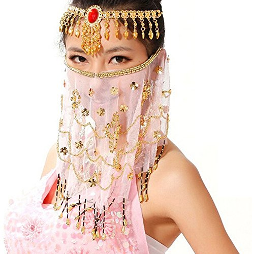 Pink Ladies Costume Accessories (Saymequeen Women Beaded Belly Dance Face Veil Lady Beautiful Costume Accessory (pink))