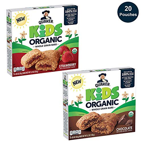 Quaker Kids Organic Whole Grain Bars, 2 Flavor Variety Pack, 4 boxes, 20 Count (Best Snacks Whole Foods)