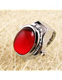 MapofBeauty Oval Crystal Inlay Hunter Case Quartz Finger Ring Watch (Red)