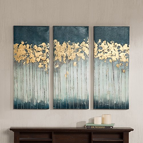 Madison Park Midnight Forest Gel Coat Canvas with Gold Foil Embellishment 3-piece (Madison Office Set)