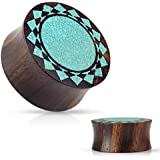 Crushed Turquoise Tribal Sunburst Inlaid Organic Sono Wood Double Flared WildKlass Saddle Plugs (1 Inch)