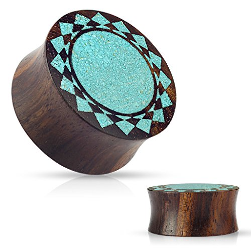 Crushed Turquoise Tribal Sunburst Inlaid Organic Sono Wood Double Flared WildKlass Saddle Plugs (1 Inch) ()