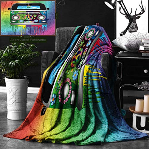 Unique Custom Double Sides Print Flannel Blankets Groovy Decorations Old Style Hippie Van With Dripping Rainbow Paint Mid 60S Youth Revo Super Soft Blanketry for Bed Couch, Twin Size 80 x 60 Inches