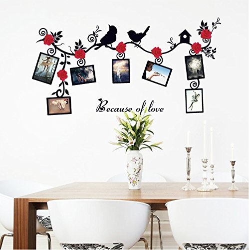 Cheap  Wall Decals Frame Landscape Photo Love Wall Stickers Bird Rose Vinyl Peel..