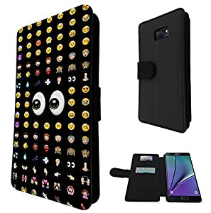 626 - Cool Smiley Faces emoji Funky Design Samsung Galaxy Note 5 Fashion Trend Credit Card Holder Purse Wallet Book Style Tpu Leather Flip Pouch Case