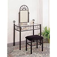 2pc Vanity Table Mirror & Chair Set Black Finish