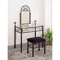 Coaster Vanity Set includes, Vanity Table, Mirror and Bench, Sunburst Design, Black Finish Metal