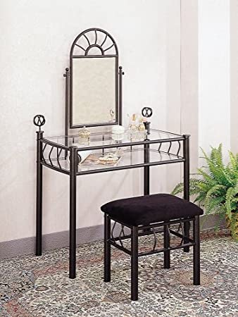 2pc Vanity Table Mirror   Chair Set Black Finish. Amazon com  2pc Vanity Table Mirror   Chair Set Black Finish