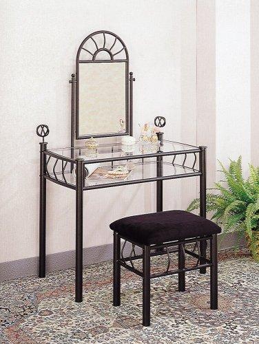 2pc Vanity Table Mirror u0026 Chair Set Black Finish & Amazon.com: 2pc Vanity Table Mirror u0026 Chair Set Black Finish ...