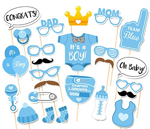 Baby Shower Photo Props KMALL 25PCS Baby Bottle Masks Blue Photobooth Props Newborn Boy Gift Party Favors Supplies Decorations mini style]()