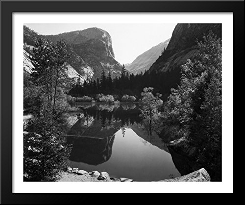 Mirror Lake, Morning, Yosemite National Park 34x28 Large Black Wood Framed Print Art by Ansel Adams