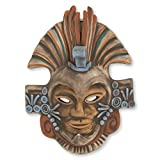 NOVICA Decorative Archaeological Large Ceramic Mask, Earthtone, Aztec Eagle Warrior'